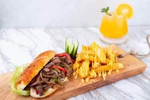 Drivu Beef fajita sandwich