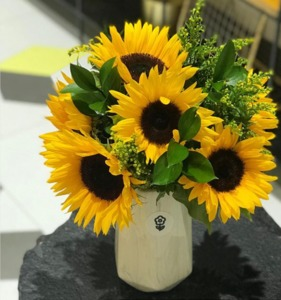 Drivu Sunflowers with Marble Vase