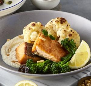 Drivu Grilled Salmon Tahini with Cauliflower & Broccolini