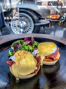 Drivu Egg Benedict with Bacon