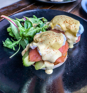 Drivu Egg Benedict with Salmon