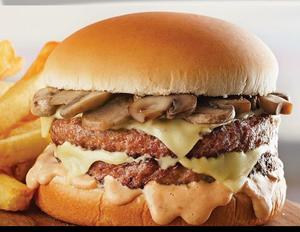 Drivu Mushroom & Swiss Double Burger