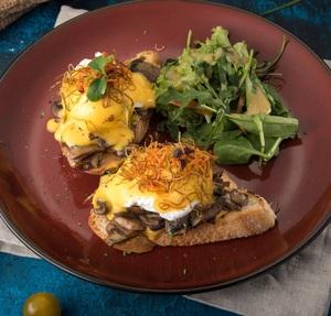 Drivu Poached Egg With Mushroom Crostini