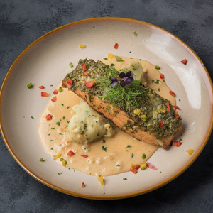 Drivu Herbs And Cheese Crusted Grilled Salmon