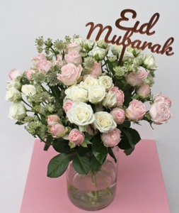 Drivu White and Pink Eid Roses Vase