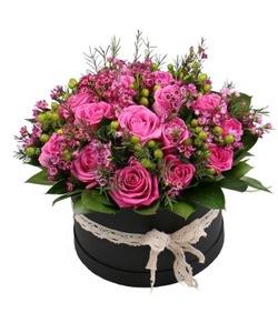 Drivu Black Round Box with Roses