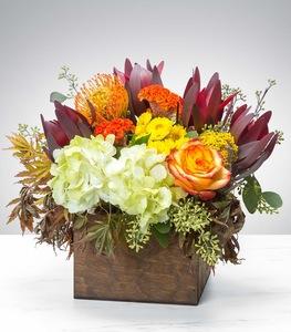 Drivu Wooden Box of Mix Flowers