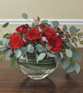 Drivu Roses in Clear Round Vase