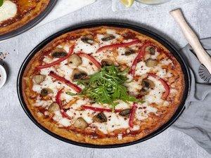 Drivu Keto Mushroom and Bell Pepper Pizza