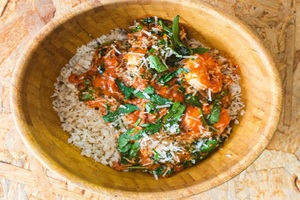 Drivu Shrimp with spinach