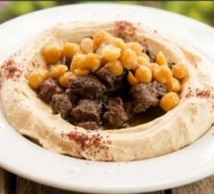 Drivu Hummos with Meat حمص مع لحم