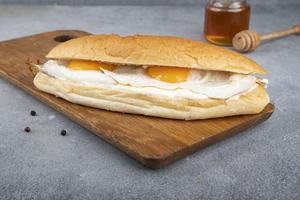 Drivu Fried Eggs with Cheese & Honey Sandwich سندويش بيض عيون مع جبن و عسل