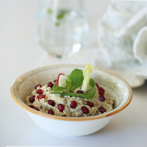 Drivu Baba Ghanouj with Pomegranate Seeds