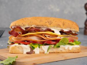 Drivu Turkey Ham with Bacon Sandwich