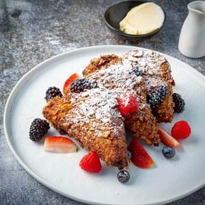 Drivu Corn Flake French Toast, Berries, Miso Maple