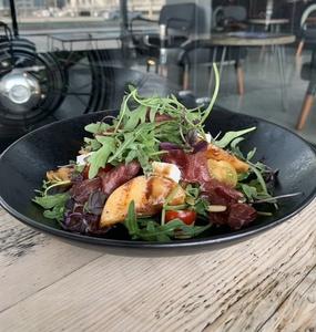 Drivu Caramelized Grilled Peach Salad w/ Bresaola