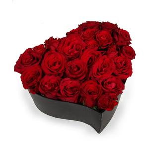 Drivu Red Roses & Baby Roses in Luxury Black Love Box (BO4)