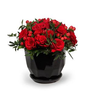 Drivu  Red Roses & Baby Roses in Ceramic Vase (V19)