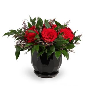 Drivu Red Roses in Ceramic Vase (V18)