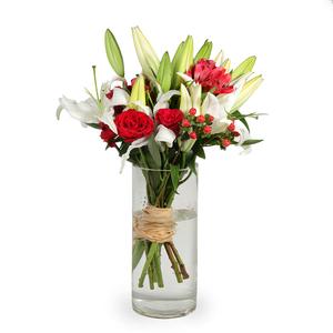 Drivu Red Roses Astromeria Hyperiunm in Luxury Glass Vase (V17)