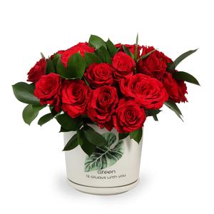Drivu 30 Red Roses in Ceramic Vase (V15)