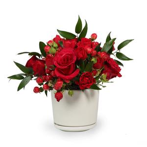 Drivu Red Roses & Baby Roses in Ceramic Vase (V14)