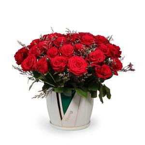 Drivu Red Roses in Luxury Ceramic Vase (V13)