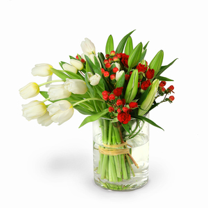 Drivu  White Tulip & White Lily in Luxury Glass Vase (V11)