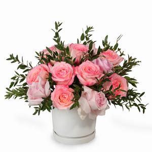 Drivu Pink Roses in Ceramic Vase (V7)