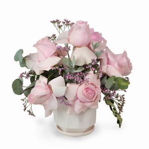 Drivu Pink Roses in Ceramic Vase (V5)