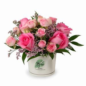 Drivu  Pink Roses in Ceramic Vase (V3)