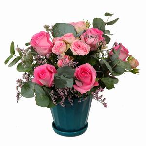Drivu Pink Roses in Ceramic Vase (V2)
