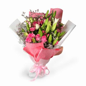 Drivu Luxury White Lily & Lisianthus - White & Pink Bouquet (HB8)