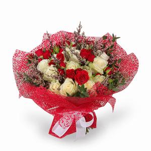 Drivu Luxury White & Red Rose Bouquet (HB7)