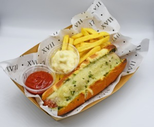 Drivu Italian Hotdog served with French Fries