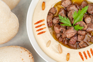 Drivu Hummus with Meat & Pine Nuts