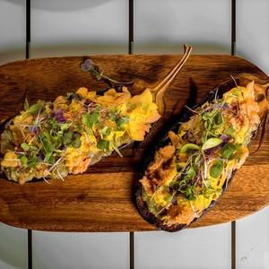 Drivu Eggplant with Scramble Egg