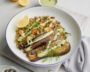 Drivu Za'atar Roasted Eggplant and Freekeh Salad