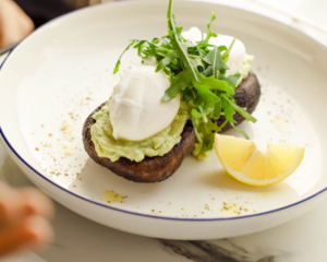 Drivu Poached Eggs and Avocado Samsh on Portobello Mushrooms