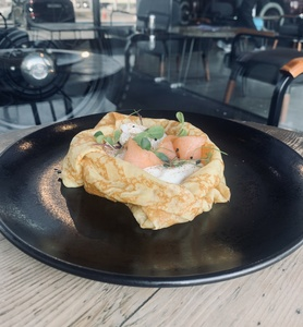 Drivu Crepe Salmon with Poach Egg