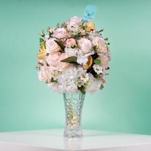 Drivu Light Pink Flowers Glass Vase