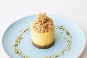 Drivu Kunafa Over Saffron Cheesecake