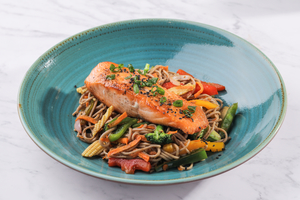 Drivu Salmon with Soba Noodles